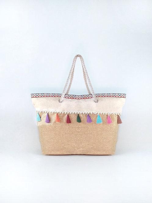Bolso de playa con ribete y borlas multicolor