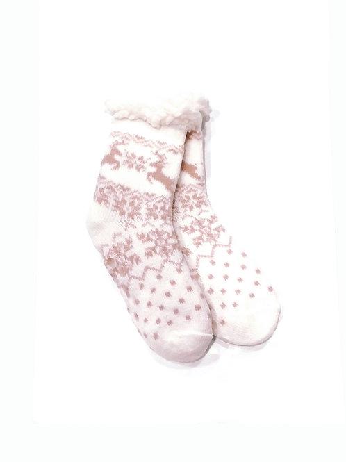 Calcetines invierno anti-deslizantes blancos/rosa