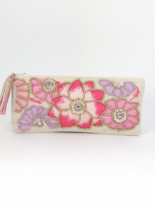 Flower Pouch bag Beige