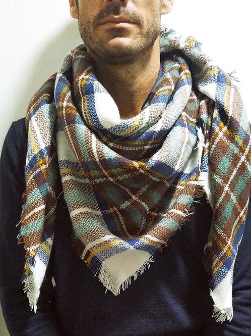 Bufanda de invierno blanca y marrón cuadros