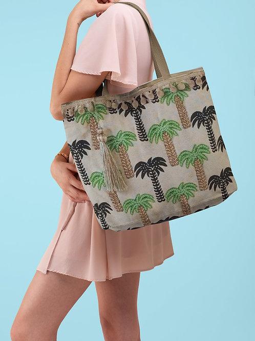 Tote bag con palmeras y pompones a juego