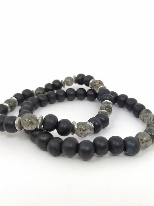 Pulseras de bolas de piedras negras y cristales