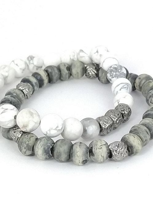 Pulsera con piedras blancas y grises