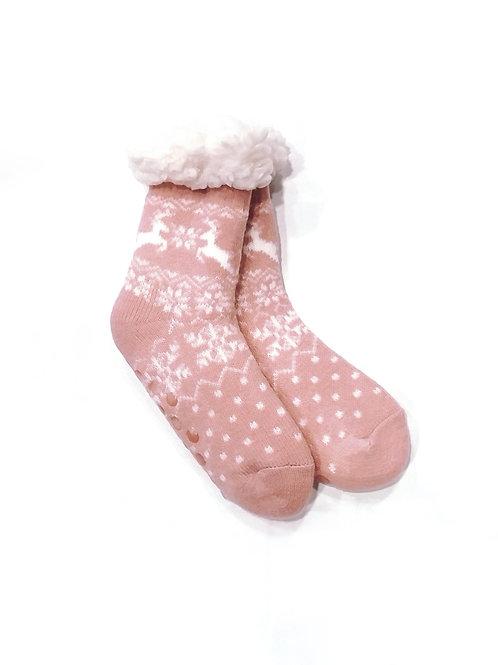 Calcetines invierno anti-deslizantes rosa/blanco