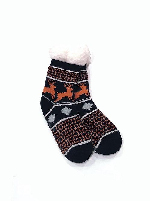 Calcetines invierno anti-deslizantes negro/naranja