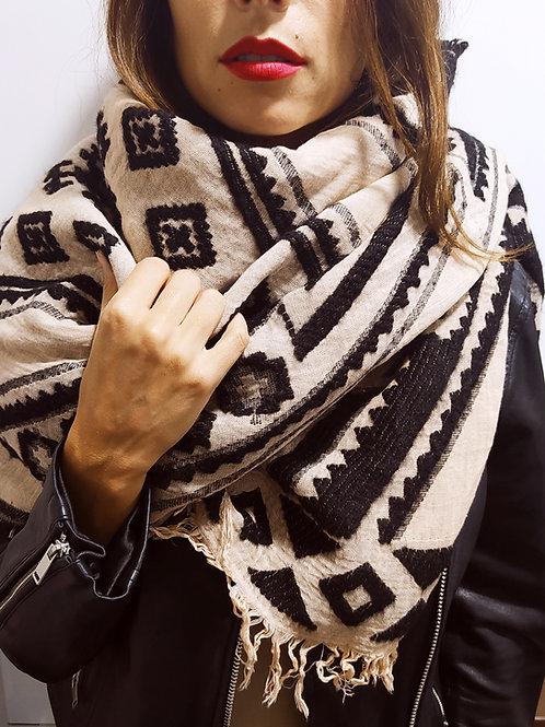 Bufanda de invierno bordada negra y beige