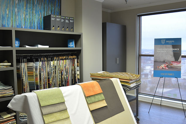 A presentation of fabrics set up in Vision Fabrcs showsuite in Market Square Tower