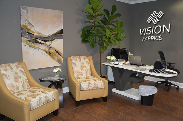 Reception area at Vision Fabrcs showsuite in Market Square Tower
