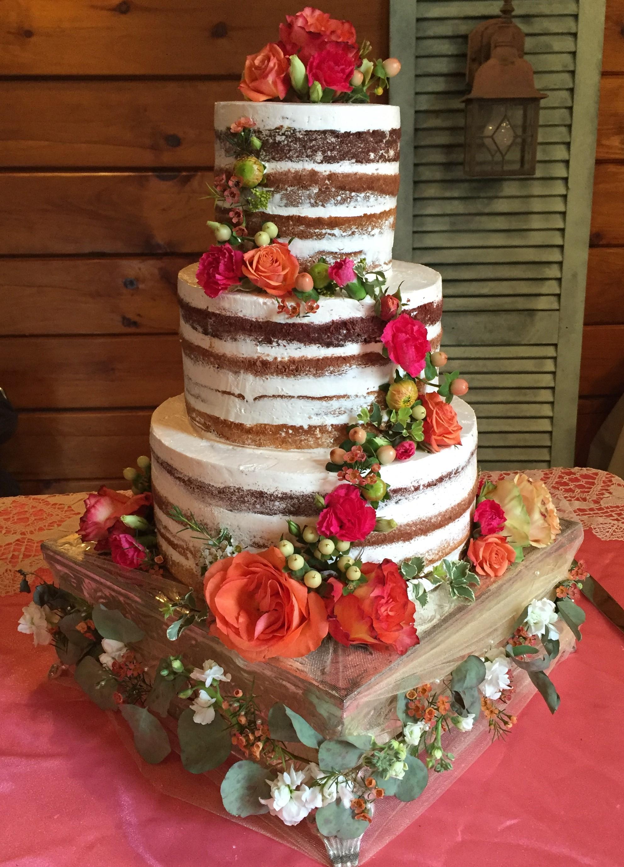 Half Naked Boho Wedding Cake