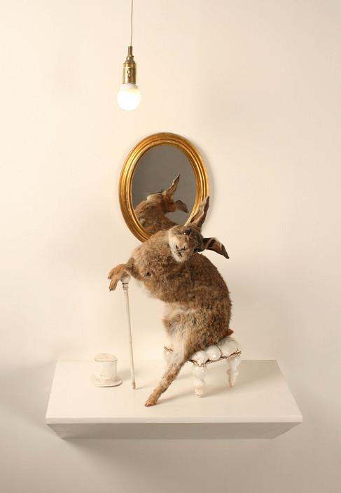 Anthropomorphized taxidermy rabbit