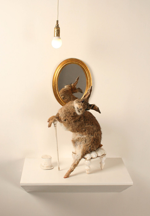 Anthropomorphized taxidermy rabbit