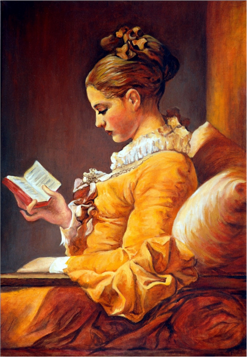 Oil painting copy of Fragonard