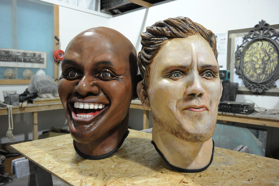 BBC Costume /prop heads for Greg Jame's Breakfast Show. His and Ainsley Harriott look-a-like wearable heads.