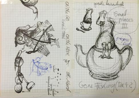 Idea doodled drawings
