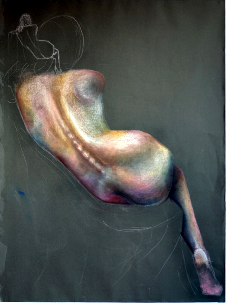 Pastel drawing of live model