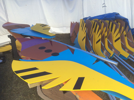Decorative Feathers for main stage at Lee Festival