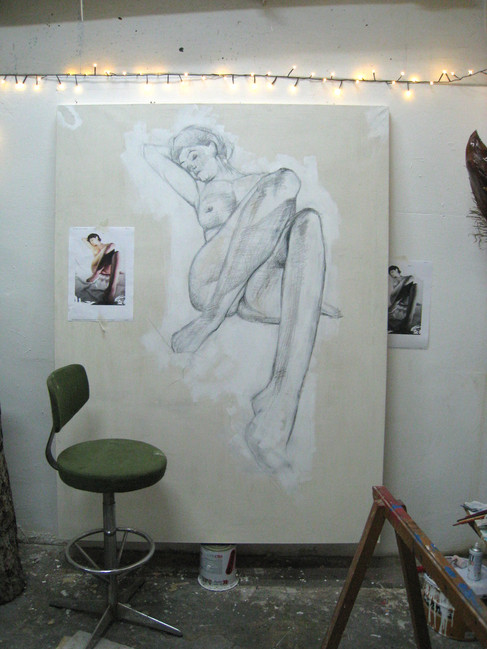 Live model drawing to be oil painted