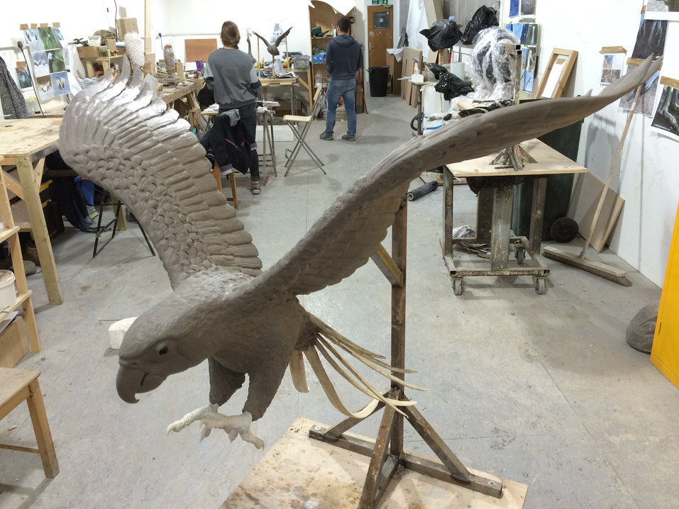 Macaws. Clay Sculpture.