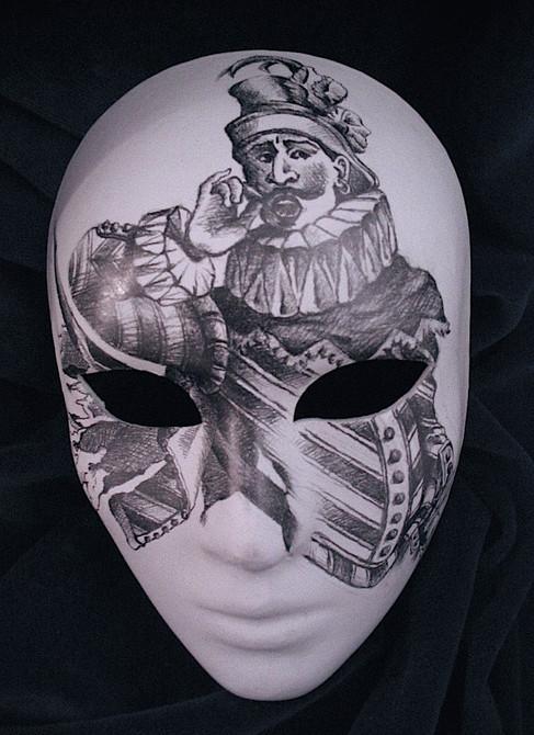 Pencil sketched design for canvival masks