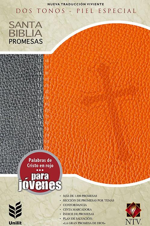 BIBLIA DE PROMESAS NTV JUVENIL GRIS/NARANJA