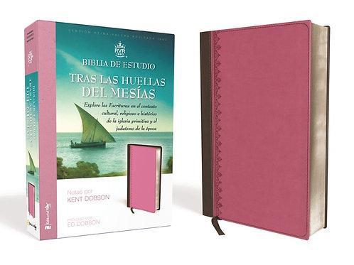 BIBLIA DE ESTUDIO TRAS LAS HUELLAS DEL MESIAS PIEL ROSA/CAFÉ