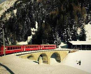red train winter escape ski & fun