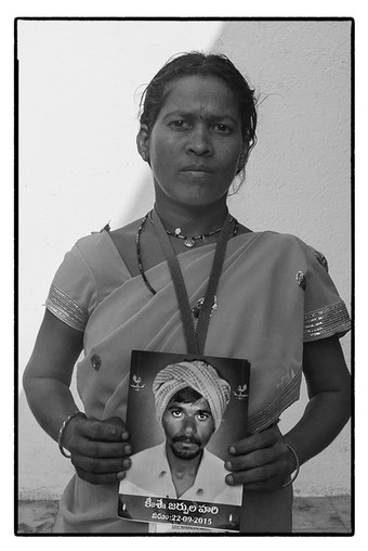 Widow of a debt-stressed tenant farmer from Andhra / Telengana who committed suicide. Additional details awaited.