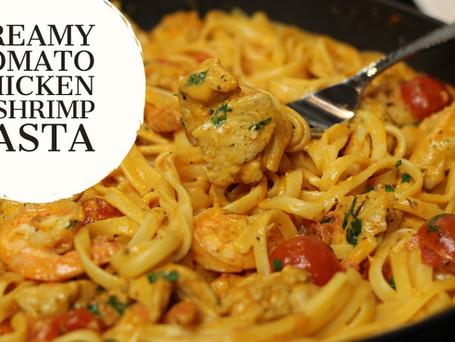 Creamy Tomato Chicken & Shrimp Linguine