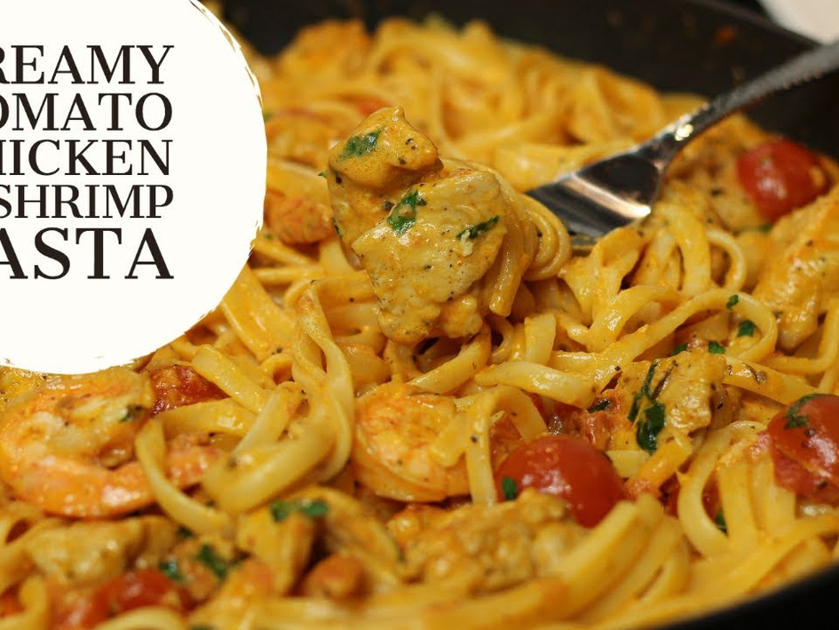 Creamy Tomato Chicken & Shrimp Linguine