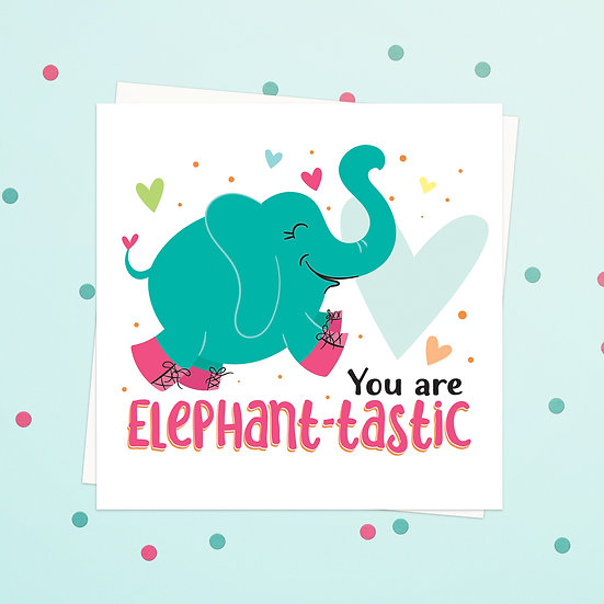 Greeting Card - Elephant Animal Pun Square Cards