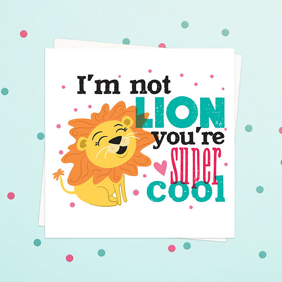 Greeting Card - Lion Animal Pun Square Cards