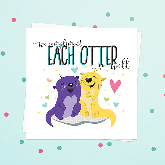 Greeting Card - Otter Animal Pun Square Cards