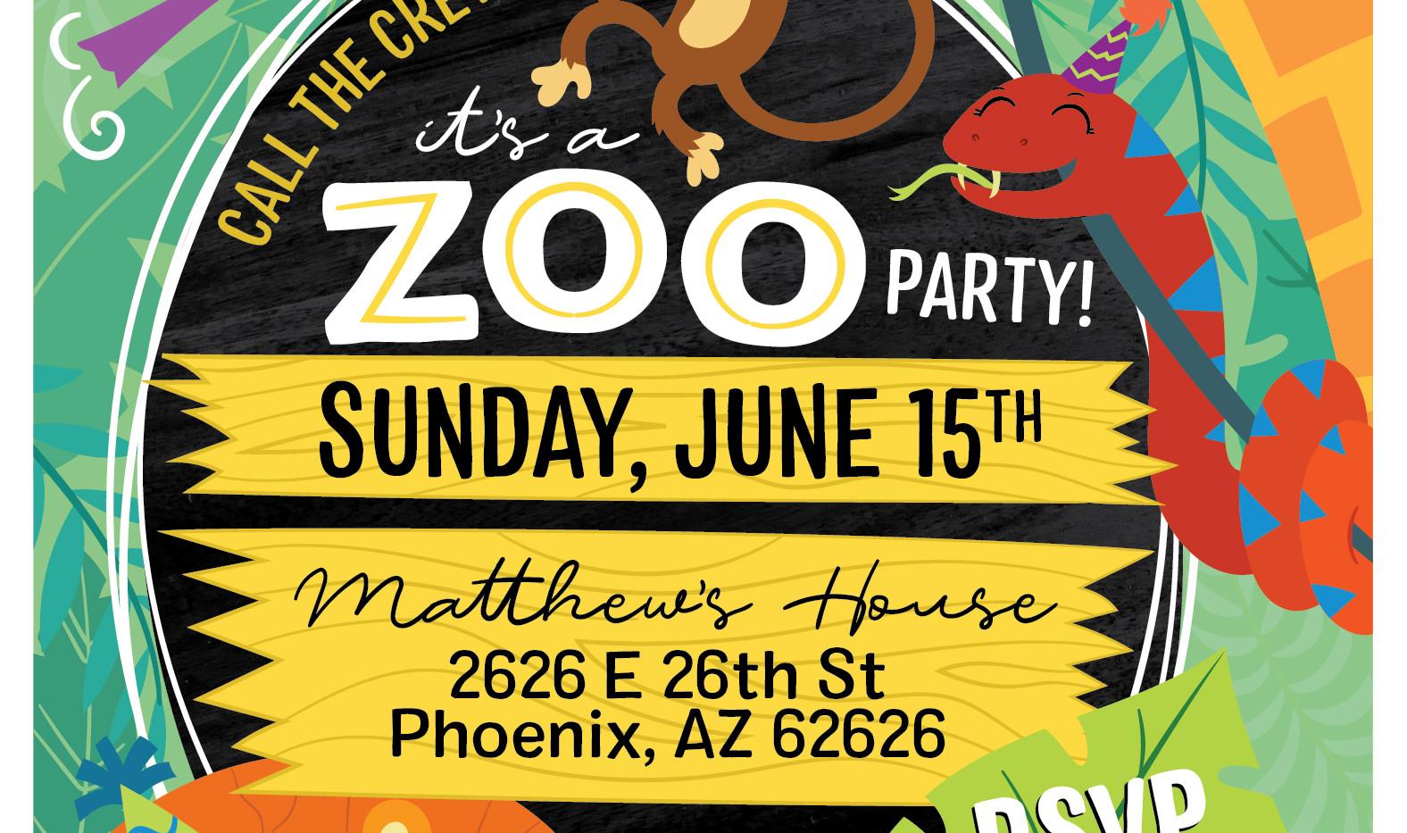 Children's Zoo Themed Birthday Party Invitation