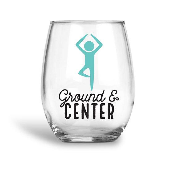Yogi Tree Pose Wine Glass