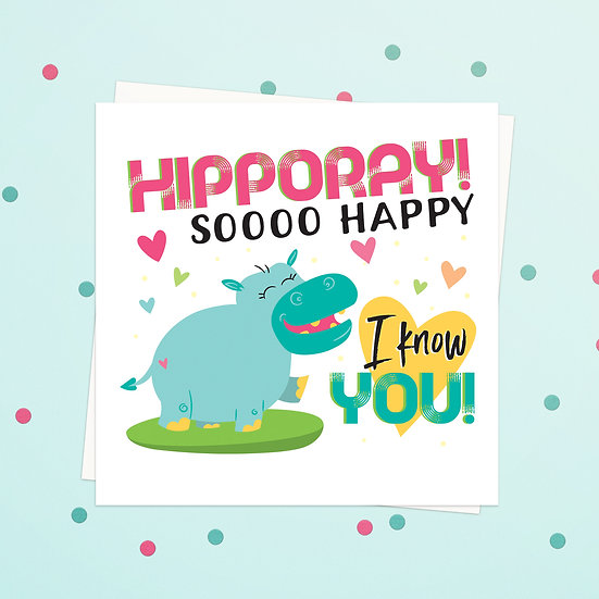 Greeting Card - Hippo Animal Pun Square Cards