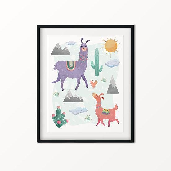 Llama Love Art Print 11x14