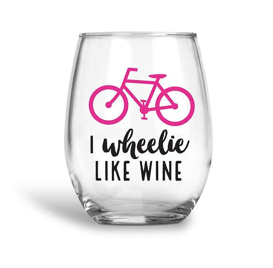 Biking Wine Glass