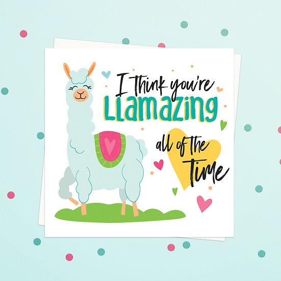Greeting Card - Llama Animal Pun Square Cards