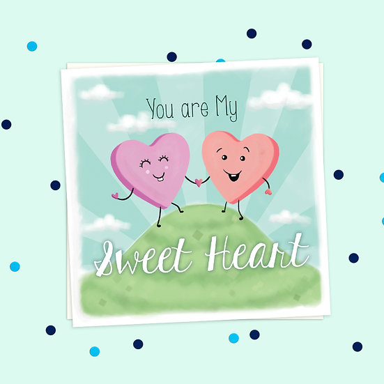 Greeting Card - Candy Hearts Sweet Treats Square Card