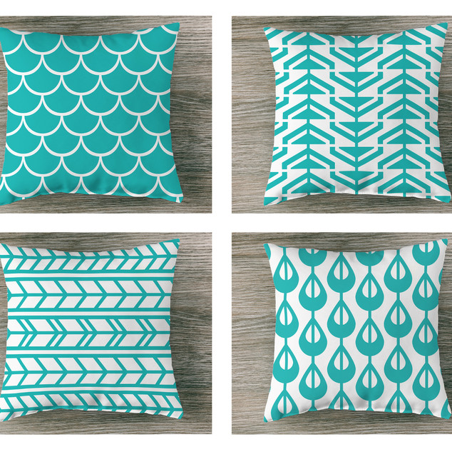 Blue Patterned Pillow Cases