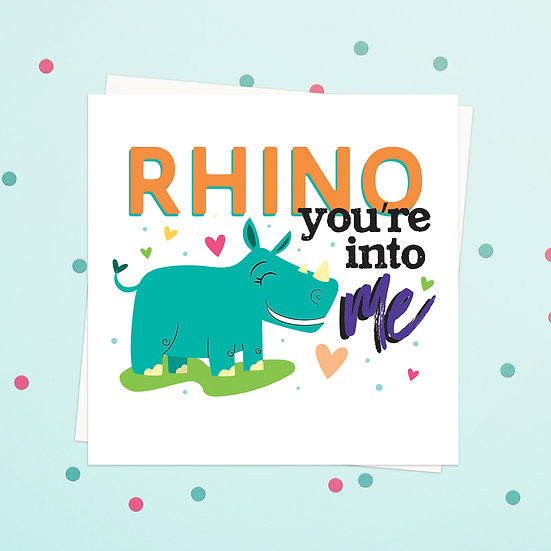 Greeting Card - Rhino Animal Pun Square Cards