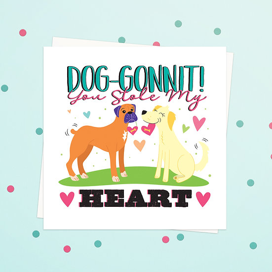 Greeting Card - Puppy Animal Pun Square Cards