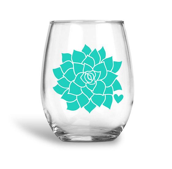 Succulent Cactus Wine Glass