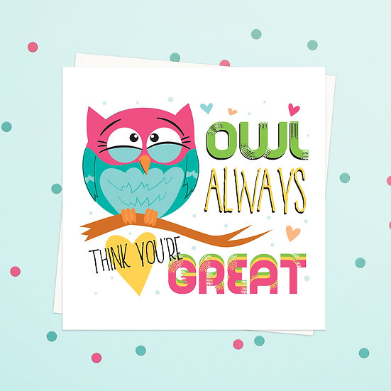 Greeting Card - Owl Animal Pun Square Cards