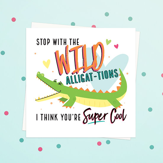 Greeting Card - Alligator Animal Pun Square Cards
