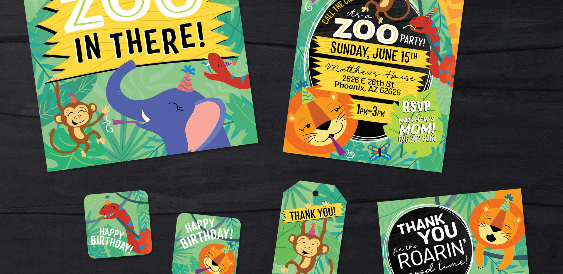 Children's Zoo Themed Birthday Party Design Pack