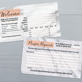 Welcome and Prayer Request Church Cards