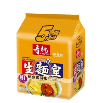 壽桃牌 生麵皇 鮑魚雞湯味(粗) 5包裝
