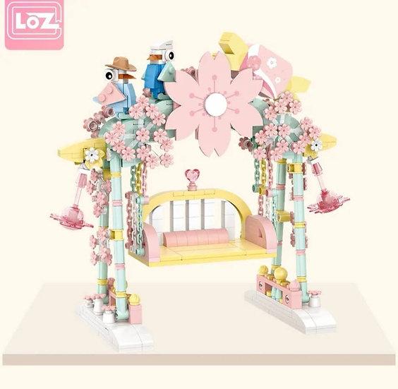 LOZ俐智迷李小積木組裝玩具 櫻花秋千