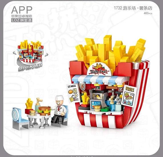 LOZ俐智迷李小積木組裝玩具 薯條店